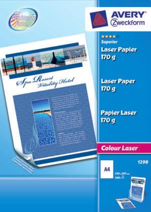 1298 - Carta bianca fotografica patinata Glossy stampabile fronte/retro - 170g - stampanti Laser/Laser a colori - 210x297 - 200 ff