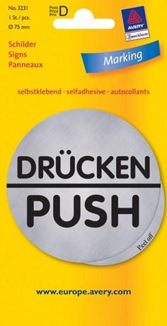 3231 - Adesivo pre-stampato effetto metallo, rotondo - d. 75 - Push