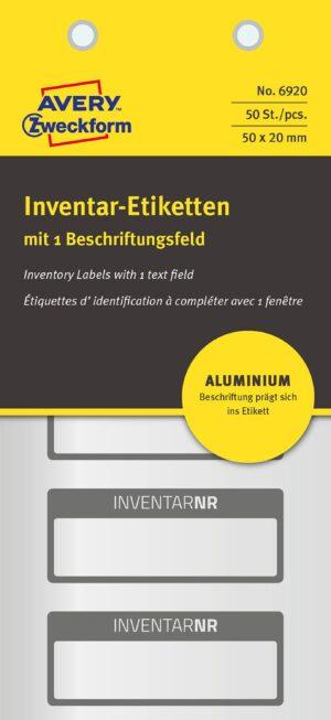 6920 - Etichette prestampate in alluminio 1 riga - 50x20- 10 ff. - 50 etichette