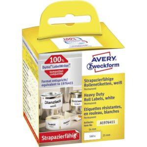 A1976411 Etichette Avery LW bianche ultraresistenti in Poliestere Permanente mm. 25 x 54 mm. Compatibili Dymo 100%