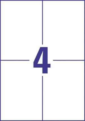 B3483-50 - Etichette TESLIN opaco bianco (PE) - A4 -  105 x 148 mm.- 50 ff