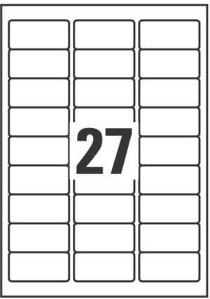 L6011-100 - Etichette in poliestere argento - stampanti Laser - 63,5x29,6 - 100 ff