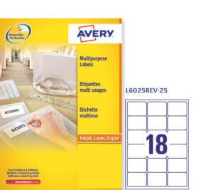 L6025REV-25 - Etichette rimovibili ecologiche, certificate FSC - stampanti Laser - 63,5x46,6 - 25 ff