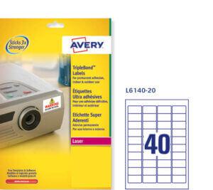 L6140-20 - Etichette bianche Super Aderenti - stampanti Laser - 45,7x25,4 - 20 ff