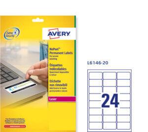 L6146-20 - Etichette bianche Non Rimovibili - stampanti Laser - 63,5x33,9 - 20 ff