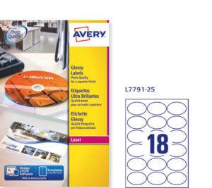 L7791-25 - Etichette bianche ovali effetto glossy - stampanti Laser a colori - mm. 63,5 x 42,3 - 25 ff - 450 etic.