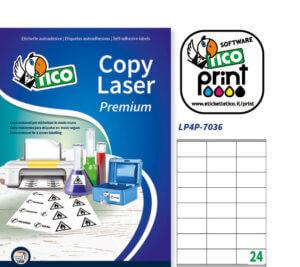 LP4P-7036 - Etichette in poliestere bianco - stampante laser - 70x36 - 70 ff