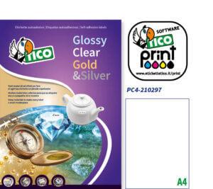 PC4-210297 - Etichette trasparenti rettangolari- tipo/lito - 210x297 - 100 ff