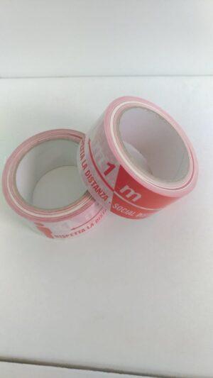 """Nastro adesivo in PVC bianco mm.50 x 66 mtl stampa rosso """"rispetta la distanza di sicurezza"""""""