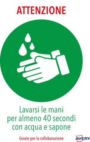 """AV_KITCOVID1_IT Etichette adesive resistenti prestampate """"Lavarsi le mani"""" - formato A4 - 2 fogli"""